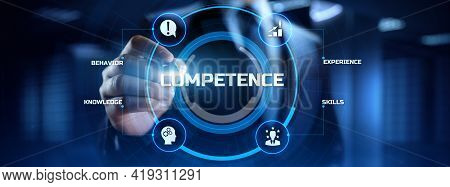 Competence Skills Business And Personal Development Concept. Businessman Pressing Button On Screen