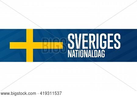Inscription In Swedish Means National Day Of Sweden. Holiday Concept. Template For Background, Banne