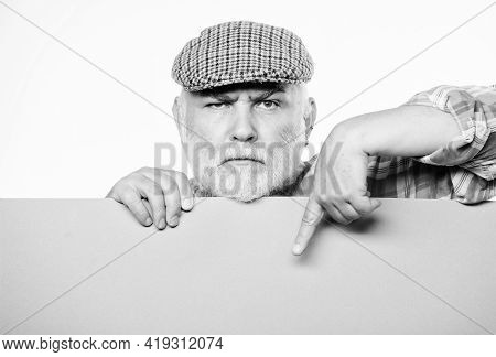 Advertisement Shop. Pensioner Grandfather In Vintage Hat Hold Poster Information Copy Space. Event A