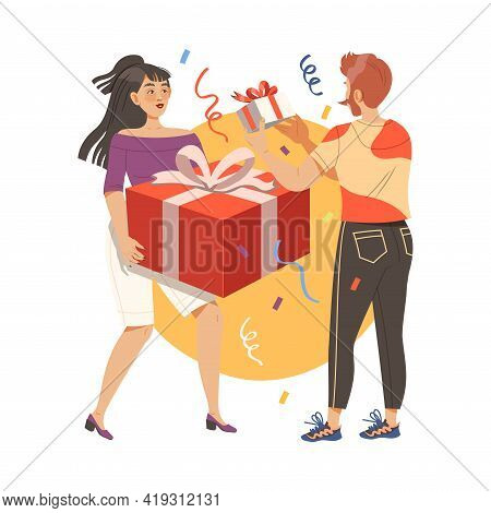 Man And Woman Giving Gifts To Each Other Celebrating Special Occasions Like Birthday Or Holidays Vec