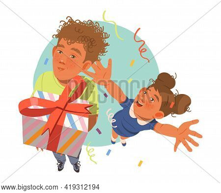 Little Kids Receiving Wrapped Gift Boxes Celebrating Special Occasion Like Birthday Or Holiday Vecto