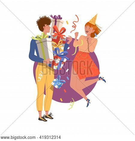 Man With Pile Of Gift Boxes And Woman Jumping With Joy Celebrating Special Occasion Like Birthday Or