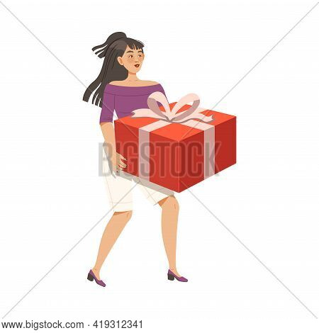 Happy Woman Carrying Wrapped Gift Box For Special Occasion Like Birthday Or Holiday Celebration Vect