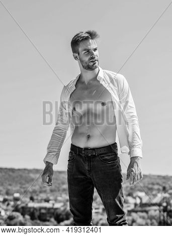 Confident In His Appealing. Bearded Guy Business Style. Handsome Man Fashion Model. Muscular Torso.