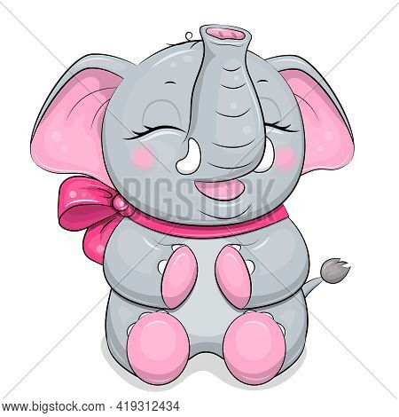 Cute Cartoon Baby Elephant With Big Pink Bow. Vector Animal Illustration Isolated On White.