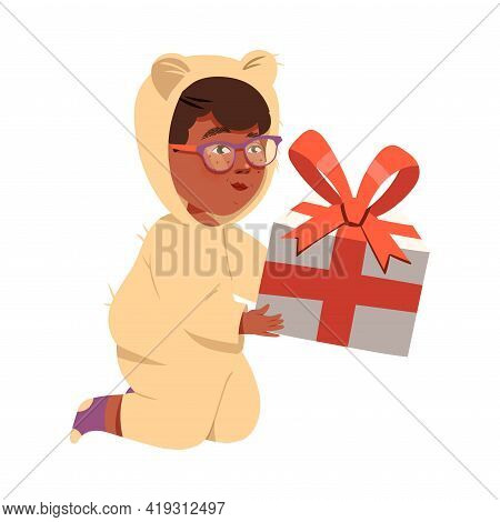 Freckled Little Boy Receiving Wrapped Gift Box For Special Occasion Like Birthday Or Holiday Celebra