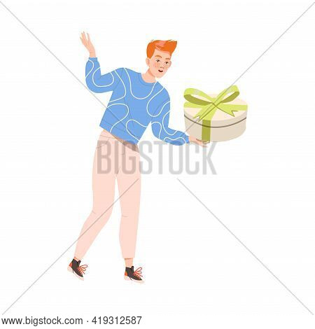 Excited Man Receiving Wrapped Gift Box For Special Occasion Like Birthday Or Holiday Celebration Vec