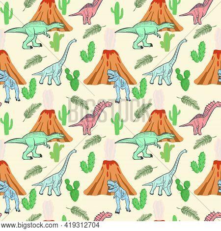 Seamless Pattern With Dinosaurs. Vector. Extinct Prehistoric Animals With Volcanoes. Jurassic Inhabi
