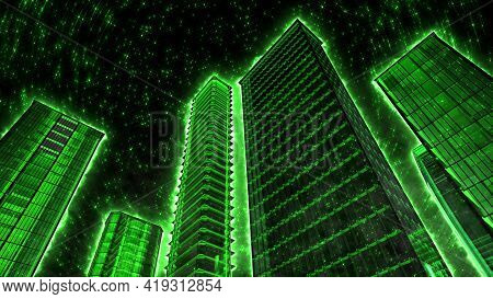 Green Skyscrapers On The Background Of The Night Starry Sky. 3d Illustration