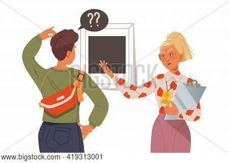 Frowning Female Teacher Scolding At Teenager Boy Scratching Head Vector Illustration
