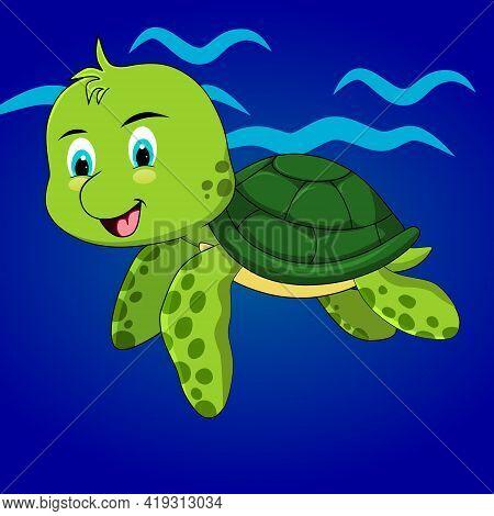 Cute Sea Turtle Cartoon Vector Clip Art