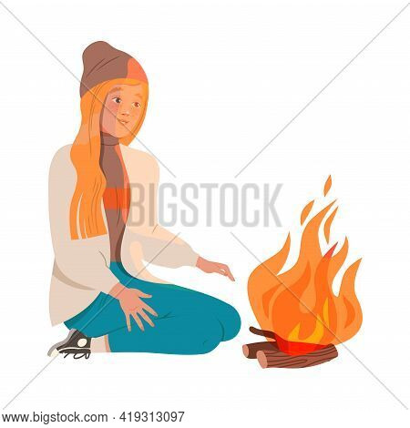 Happy Redhead Female Sitting At Campfire Looking At Burning Fire Vector Illustration