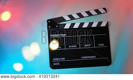 Black Clapperboard Or Movie Clapper Board Or Slate On Neon Pink Peach,blue,tiffany Blue ,mint Green