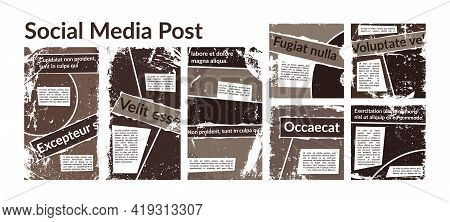 Collection Of Grunge Trendy Social Media Backgrounds. Set Of Frayed And Scratched Decorative Element