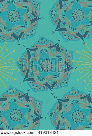 Composition of blue floral pattern design repeated on turquoise blue background. invitation, wrapping paper or greetings card design template concept with copy space, digitally generated image.