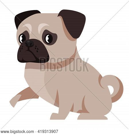 Pug Giving Paw. Cute Pet In Cartoon Style.