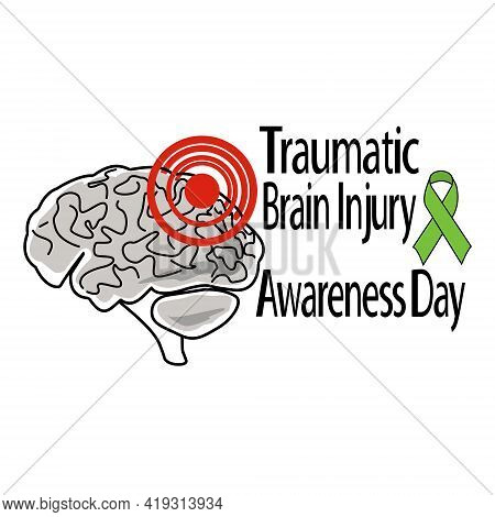 Traumatic Brain Injury Awareness Day, Schematic Representation Of A Human Brain With Trauma, For Pos