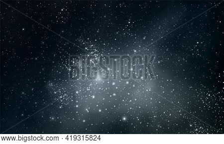 Astro Landscape Of The Night Sky With Many Stars, Vector Art Illustration.