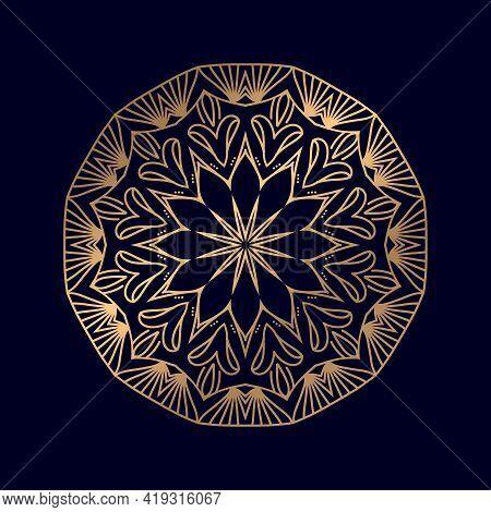 Luxury Ornamental Mandala Vector Design Background In Gold Color. Mandala Logo Invitation Template W