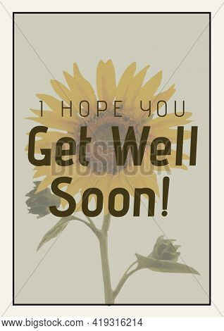 Composition of i hope you get well soon message and sunflower on grey background. get well greetings card design template concept, digitally generated image.