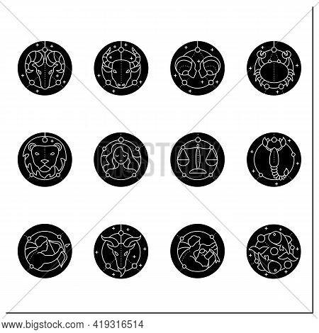Zodiac Glyph Icons Set. Fourth Fire Signs In Zodiac. Birth Symbols. Mystic Horoscope Signs. Astrolog