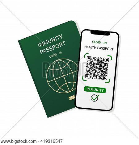 Immune Passport. Digital Health Passport, Qr Code In Mobile Phone. Test Results For Immunity