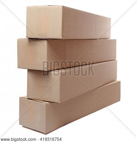 Packing Cardboard Boxes. Lots Of Cardboard Boxes. Boxes On A White Background. Isolate.