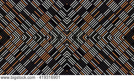 Pattern Of Stripes Changes And Moves To Center. Animation. Beautiful Pattern Of Stripes Changes From
