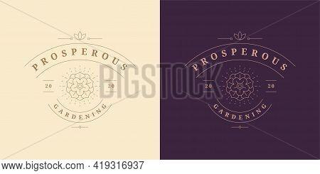 Blooming Rose Flower Logo Emblem Design Template Vector Illustration In Minimal Line Art Style
