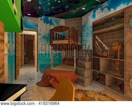 3d Rendered Ship Theme Kid's Bedroom. Theme Interior For Children's Enjoying.