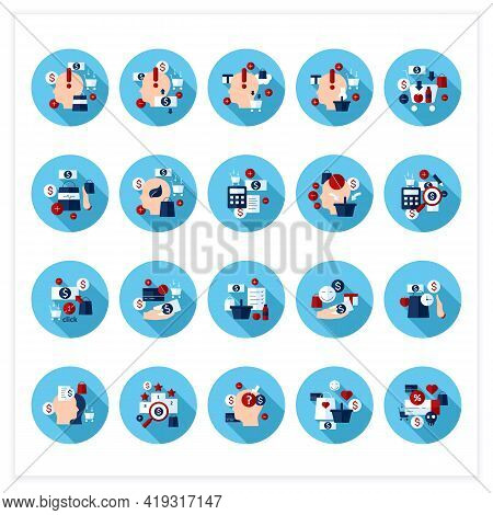Mindful Spendings Flat Icons Set. Conscious Buying, Conscious Consumer, Buy Less. Shopaholism, Sales