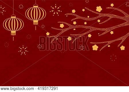 Traditional Asian Background, Lanterns, Fireworks, Flowers, Gold On Red, Copy Space. Oriental, Easte