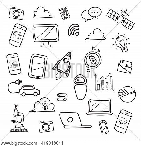Technology Doodles Hand Drawn. Vector Illustration Graphic