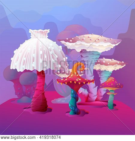 Cartoon Landscape Of Colorful Fantasy Magic Mushroom Vector Design Isolated On Fantastic Background.