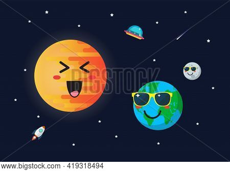 Planet Earth Wearing Sunglasses Againts Sun Character. Funny Cartoon Emoticons On Space Background.