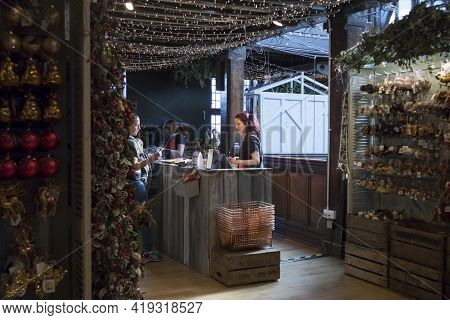 London, Uk - December 22, 2020: Christmas Decorations In Liberty Shopping Mall, One Of The Oldest De