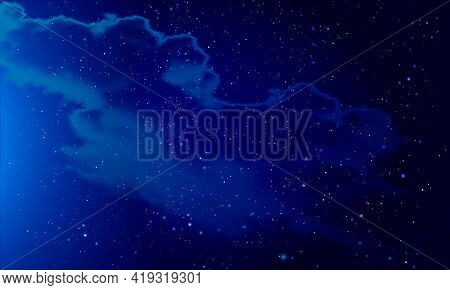 Night Panorama Of The Starry Sky With Nebula, Vector Art Illustration.