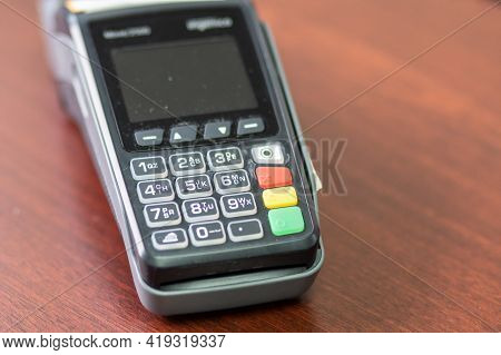 Machine To Pay Credit Card. Credit Card Reader Swipe Through Terminal For Payment. Paying By Credit