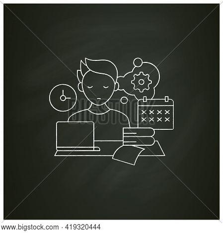 Defier Procrastinator Chalk Icon.avoid New Tasks. Finding Reasons Not Complete Tasks.procrastination