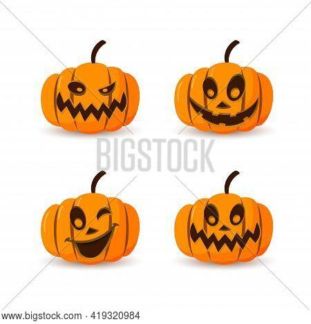 Halloween Pumpkin Icon 3d Set. Autumn Symbol. Cartoon Horror Design. Halloween Scary Pumpkin Face, S