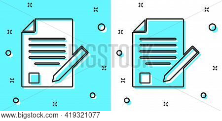 Black Line Exam Sheet And Pencil With Eraser Icon Isolated On Green And White Background. Test Paper