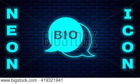 Glowing Neon Bio Green Healthy Food Icon Isolated On Brick Wall Background. Organic Product. Healthy