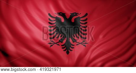 3d Rendering Of A Detail Of A Silked Albania Flag