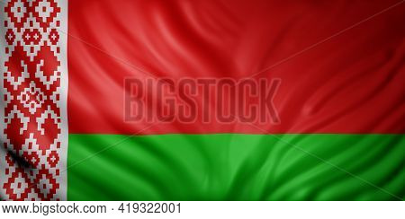3d Rendering Of A Detail Of A Silked Belarus Flag