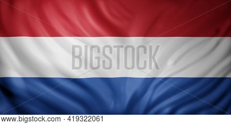 3d Rendering Of A Detail Of A Silked Holland Flag