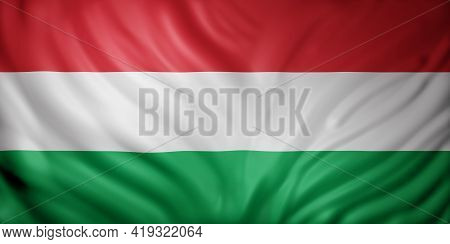 3d Rendering Of A Detail Of A Silked Hungary Flag