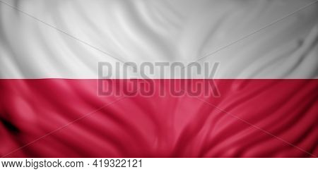 3d Rendering Of A Detail Of A Silked Poland Flag