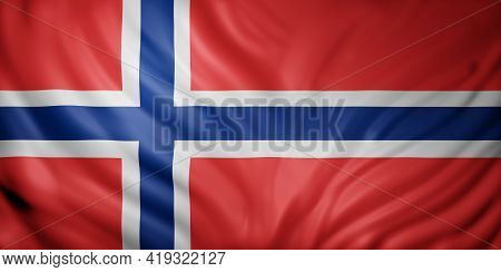 3d Rendering Of A Detail Of A Silked Norway Flag