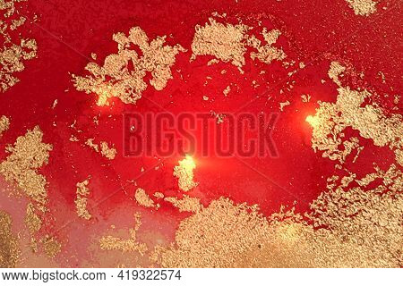 Gold And Ruby Red Pattern With Texture Of Geode And Sparkles