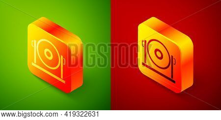 Isometric Gong Musical Percussion Instrument Circular Metal Disc Icon Isolated On Green And Red Back